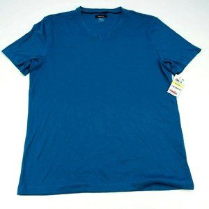 Alfani Men's Blue Basic Tee Short Sleeve V-Neck M